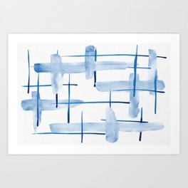 Abstract Lines Blue and White 05 Art Print