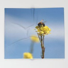 Honey bee on a wildflower Throw Blanket