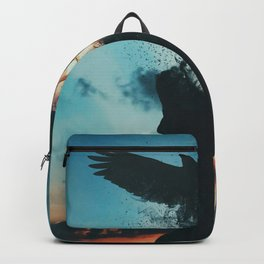 Enthralling Mystic Raven Crow Rises From Woman Curly Hair Head Sunset Backpack
