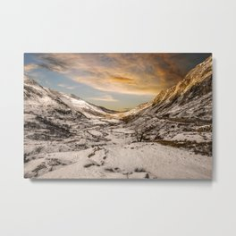 Nant Ffrancon Winter Sunset Metal Print