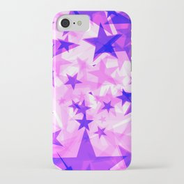 Glowing purple and pink stars on a light background in projection and with depth. iPhone Case