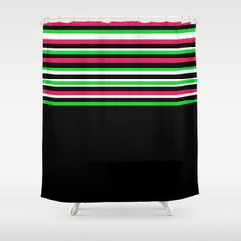 Bright Stripes + Solid Shower Curtain
