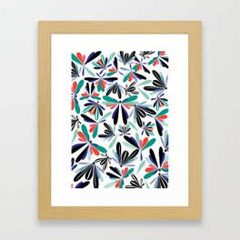 Colored poster small insects, butterflies, dragonflies, spring invitation Framed Art Print