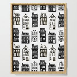 Mansard Mansions in Black + White Watercolor Serving Tray