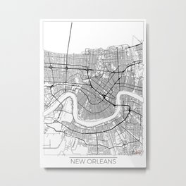 New Orleans Map White Metal Print