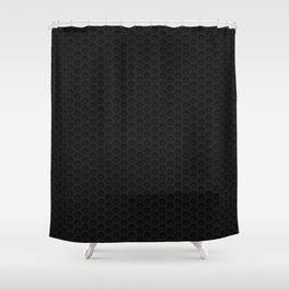 Black Metal Hexagon Shape Pattern Shower Curtain