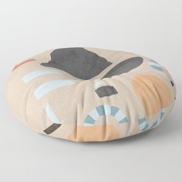 Flat cut out shapes from above, abstract pieces Floor Pillow