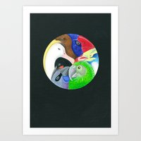 Squish Squashy Birds Circle Art Print