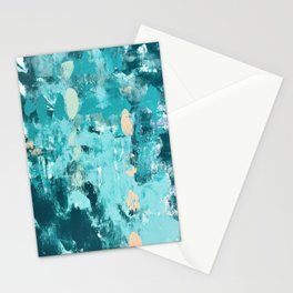 020: a vibrant abstract design in teal and peach by Alyssa Hamilton Art  Stationery Cards