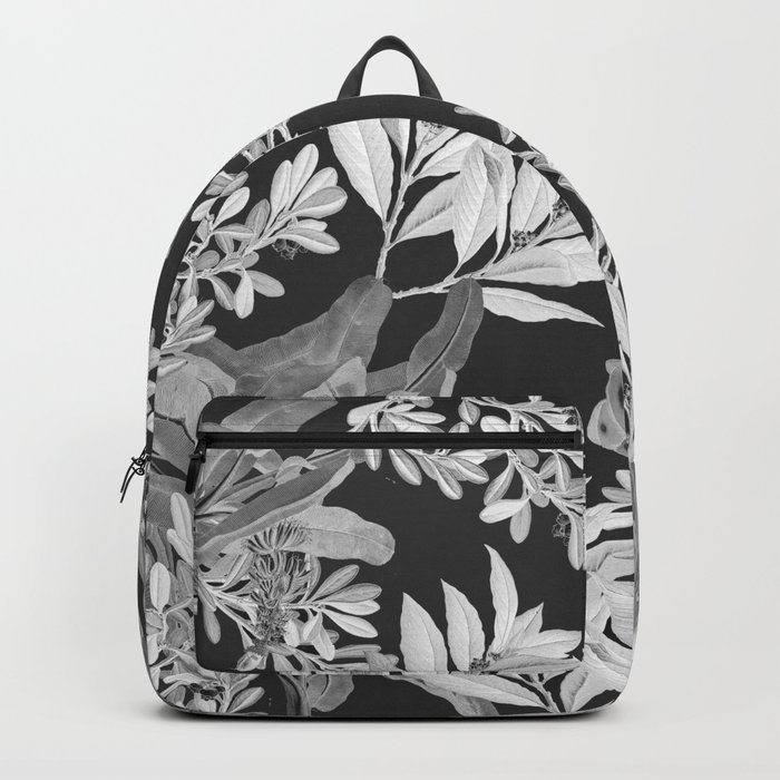 Black and White Leaves Backpack