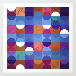 Game of circles with flowers Art Print