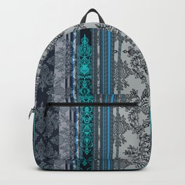 Teal, Aqua & Grey Vintage Bohemian Wallpaper Stripes Backpack