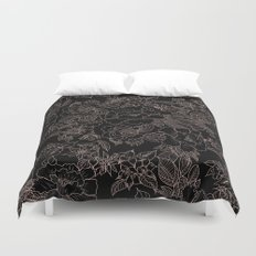 Pink coral tan black floral illustration pattern Duvet Cover