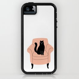 black cat on a chair iPhone Case
