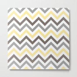 Yellow, Grey and Dark Taupe Chevron Pattern 5 Metal Print