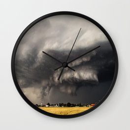 Ominous - Storm Looms Over Small Town In Oklahoma Wall Clock
