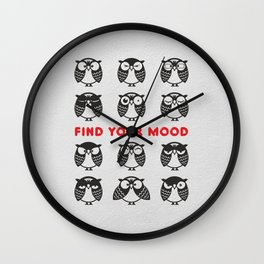 Owls. Find your mood. Wall Clock