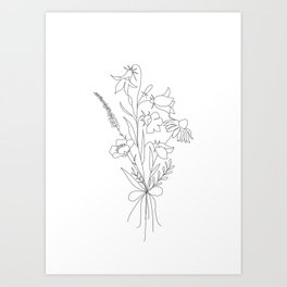 Small Wildflowers Minimalist Line Art Kunstdrucke