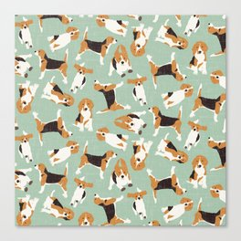 beagle scatter mint Canvas Print