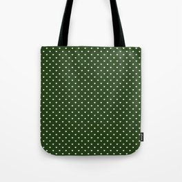 Small White Polka Dot Hearts on Dark Forest Green Tote Bag