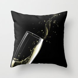 Glass of sparkling wine Throw Pillow