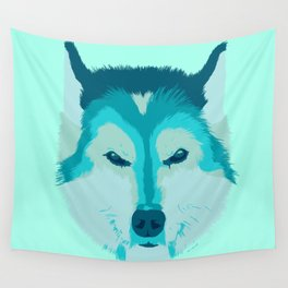 husky - teal Wall Tapestry