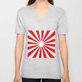 Red And White Bright Ray Background Unisex V-Neck