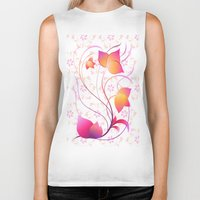 floral pattern Biker Tanks featuring Floral Pattern  by Robin Curtiss