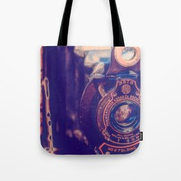 Preserving the Past a digital photograph of a vintage folding camera Tote Bag