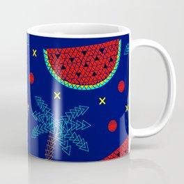 Tropical mosaic design on blue Coffee Mug