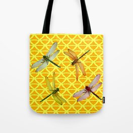 DRAGONFLIES PATTERNED YELLOW-BROWN ORIENTAL SCREEN Tote Bag