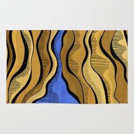 Golden Waves with Interrupting Blue Rug
