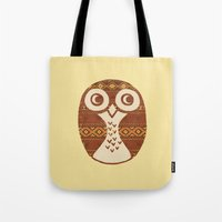 navajo Tote Bags featuring Navajo Owl  by Terry Fan