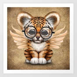Tiger Cub with Fairy Wings Wearing Glasses Art Print
