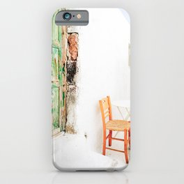 Charming Yellow Chair and Green Door in Greece iPhone Case
