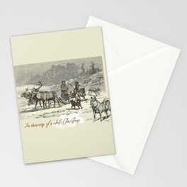 Nothern winter scene with Dogs and Reindeers team Stationery Cards