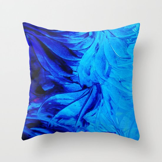 PETAL PINWHEELS - Deep Indigo Blue Royal Blue Turquoise Floral Pattern Swirls Ocean Water Flowers Throw Pillow