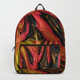 LAVA red, gold & black in flowing abstract 3D streams Backpack