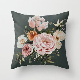 Loose Peonies and Poppies on Vintage Green Throw Pillow