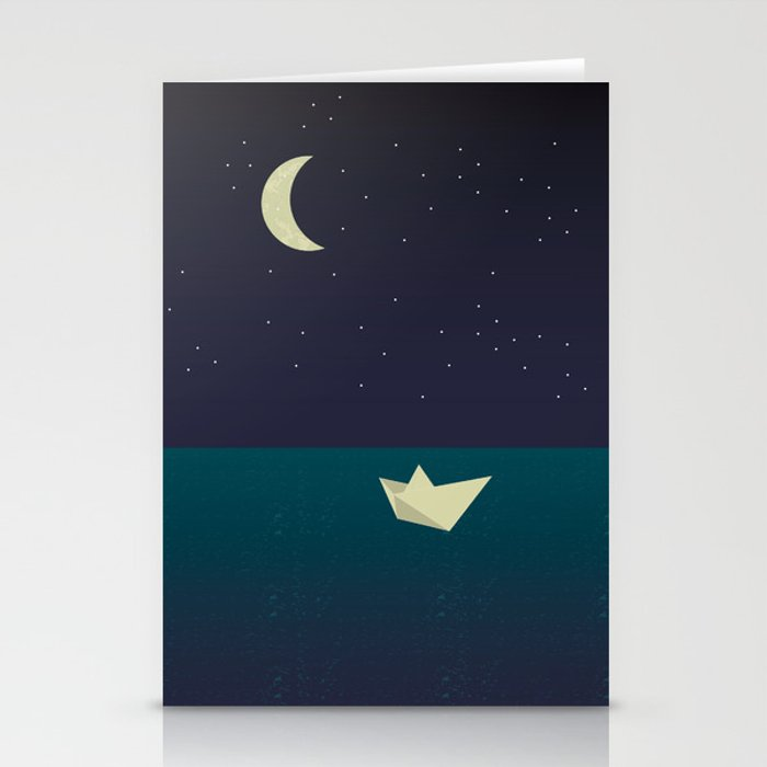 paper boat in the moonlight Stationery Cards