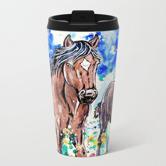 Mare and Foal Metal Travel Mug