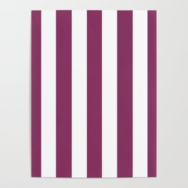 Boysenberry violet - solid color - white vertical lines pattern Poster