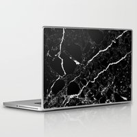 geology Laptop & iPad Skins featuring Black Marble by Santo Sagese