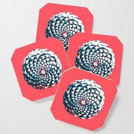 pine cone pattern in coral, aqua and indigo Coaster