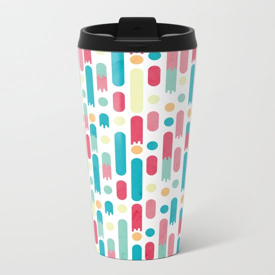 Geometric Rain Metal Travel Mug