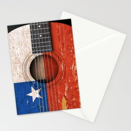 Old Vintage Acoustic Guitar with Chilean Flag Stationery Cards