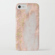 Rose Gold Marble with Yellow Gold Glitter Slim Case iPhone 7