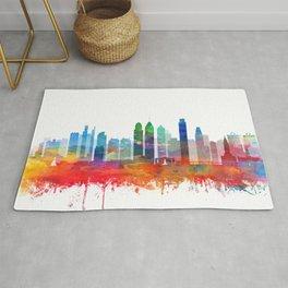 Philadelphia City Skyline Watercolor by zouzounioart Rug