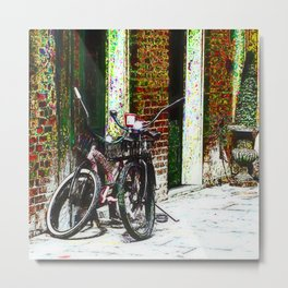 Two Bicycles In the Alley Metal Print