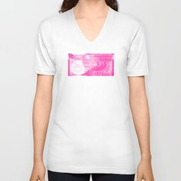 Graphic Hong Kong Dollar Screen Print Unisex V-Neck